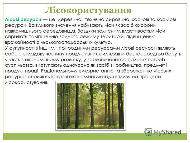 Лісові ресурси це деревина, технічна сировина, харчові та кормові ресурси. Важливого значення набувають ліси як засіб охорони навколишнього середовища. Завдяки захисним властивостям ліси сприяють поліпшенню водного режиму територій, підвищенню врожай