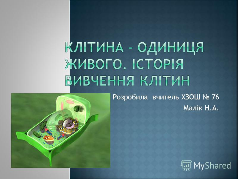 Розробила вчитель ХЗОШ 76 Малік Н.А.