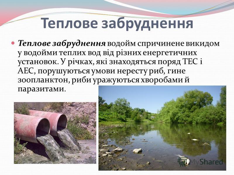 Теплове забруднення Теплове забруднення водойм спричинене викидом у водойми теплих вод від різних енергетичних установок. У річках, які знаходяться поряд ТЕС і АЕС, порушуються умови нересту риб, гине зоопланктон, риби уражуються хворобами й паразита