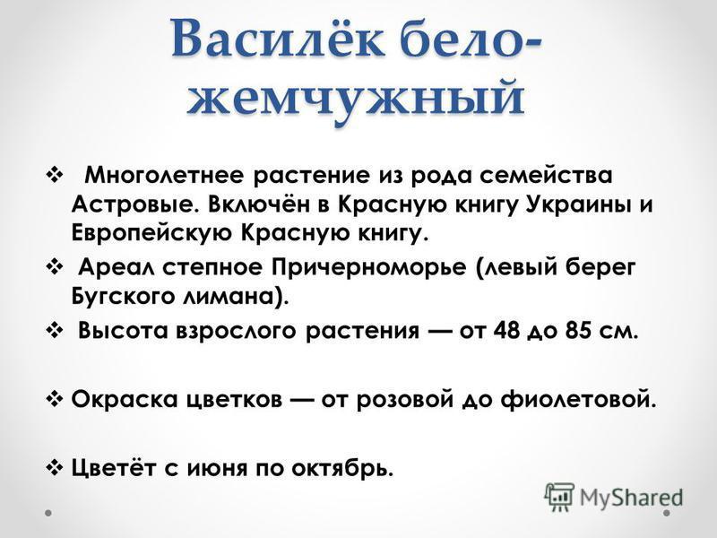 Василёк бело- жемчужный Многолетнее растение из рода семейства Астровые. Включён в Красную книгу Украины и Европейскую Красную книгу. Ареал степное Причерноморье (левый берег Бугского лимана). Высота взрослого растения от 48 до 85 см. Окраска цветков