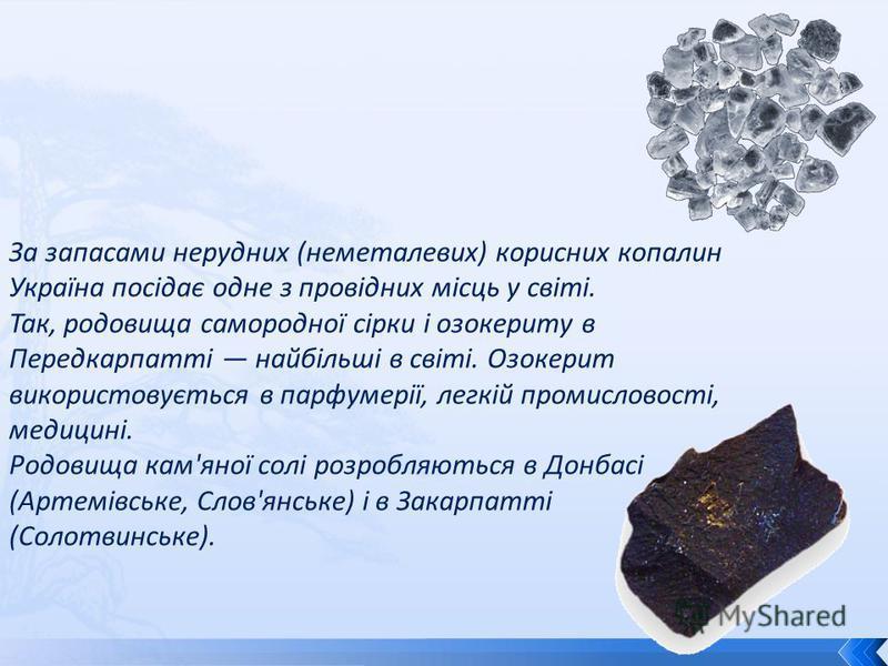 За запасами нерудних (неметалевих) корисних копалин Україна посідає одне з провідних місць у світі. Так, родовища самородної сірки і озокериту в Передкарпатті найбільші в світі. Озокерит використовується в парфумерії, легкій промисловості, медицині.