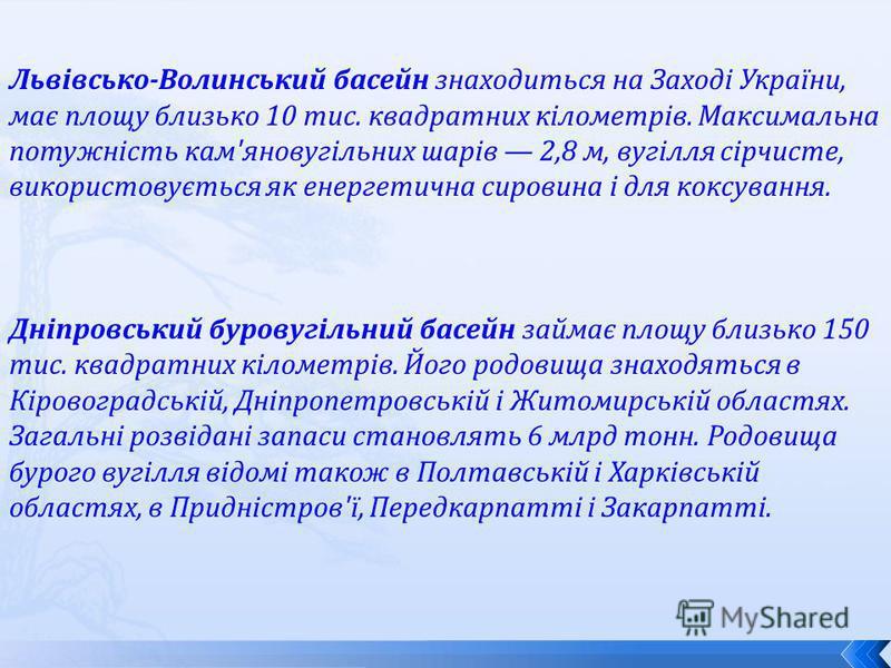 Львівсько-Волинський басейн знаходиться на Заході України, має площу близько 10 тис. квадратних кілометрів. Максимальна потужність кам'яновугільних шарів 2,8 м, вугілля сірчисте, використовується як енергетична сировина і для коксування. Дніпровський