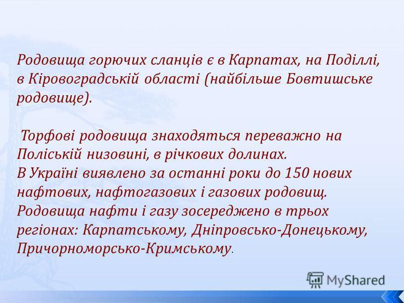 Родовища горючих сланців є в Карпатах, на Поділлі, в Кіровоградській області (найбільше Бовтишське родовище). Торфові родовища знаходяться переважно на Поліській низовині, в річкових долинах. В Україні виявлено за останні роки до 150 нових нафтових,
