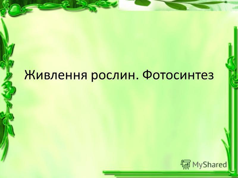 Живлення рослин. Фотосинтез