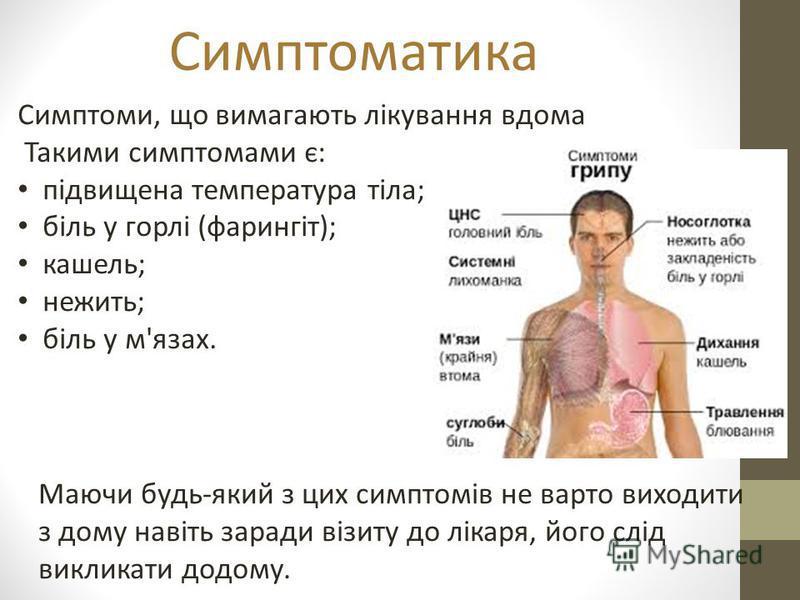 Симптоматика Симптоми, що вимагають лікування вдома Такими симптомами є: підвищена температура тіла; біль у горлі (фарингіт); кашель; нежить; біль у м'язах. Маючи будь-який з цих симптомів не варто виходити з дому навіть заради візиту до лікаря, його