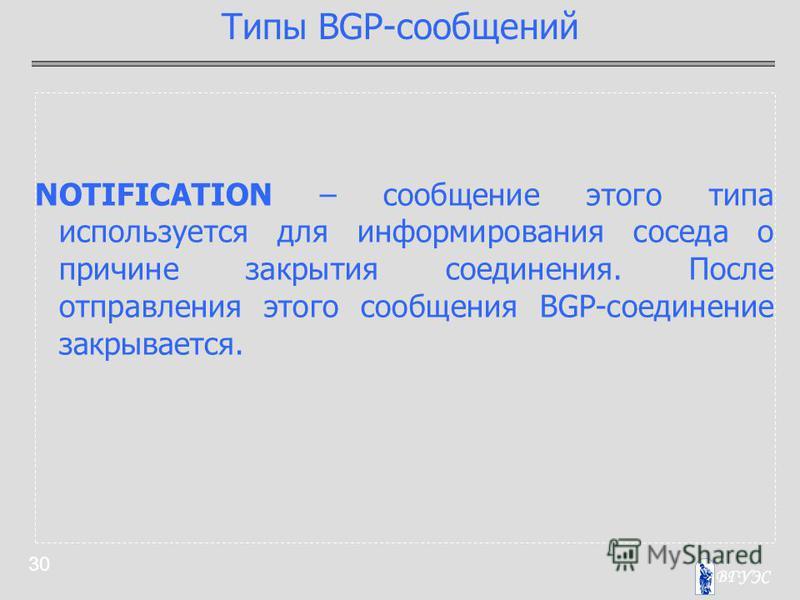 30 NOTIFICATION – сообщение этого типа используется для информирования соседа о причине закрытия соединения. После отправления этого сообщения BGP-соединение закрывается. Типы BGP-сообщений