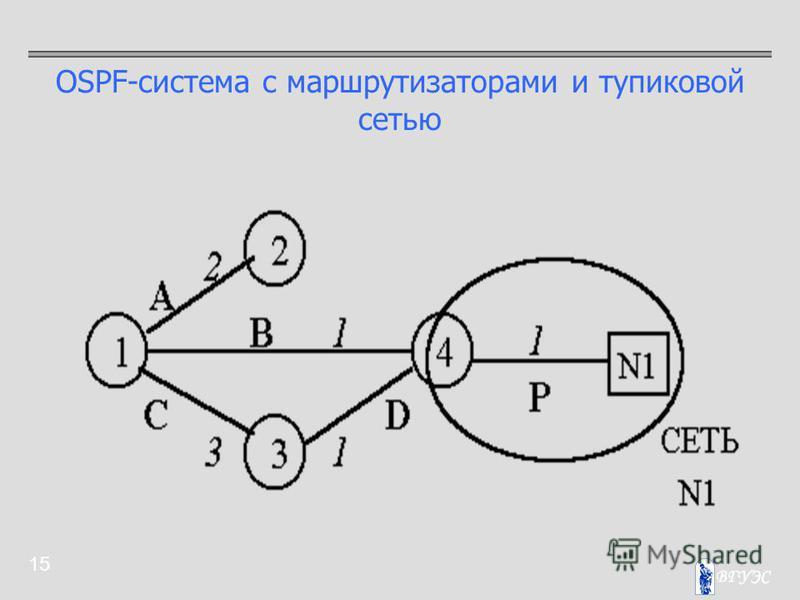 15 OSPF-система с маршрутизаторами и тупиковой сетью
