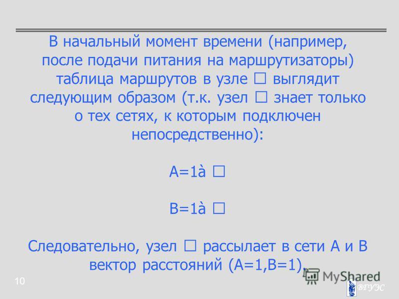 10 В начальный момент времени (например, после подачи питания на маршрутизаторы) таблица маршрутов в узле  выглядит следующим образом (т.к. узел  знает только о тех сетях, к которым подключен непосредственно): A=1à  B=1à  Следовательно, узел  ра