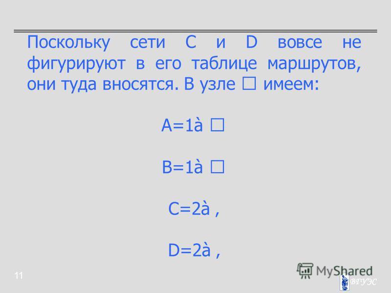 11 Поскольку сети C и D вовсе не фигурируют в его таблице маршрутов, они туда вносятся. В узле  имеем: A=1à  B=1à  C=2à D=2à