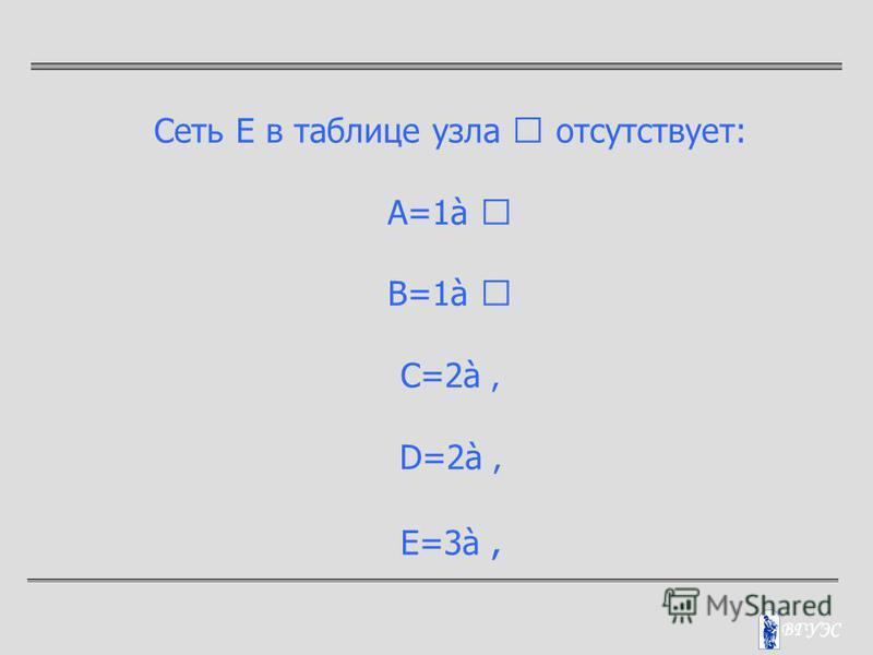 Сеть Е в таблице узла  отсутствует: A=1à  B=1à  C=2à D=2à Е=3à
