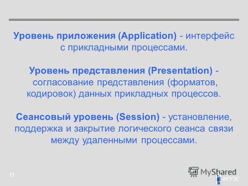 11 Уровень приложения (Application) - интерфейс с прикладными процессами. Уровень представления (Presentation) - согласование представления (форматов, кодировок) данных прикладных процессов. Сеансовый уровень (Session) - установление, поддержка и зак