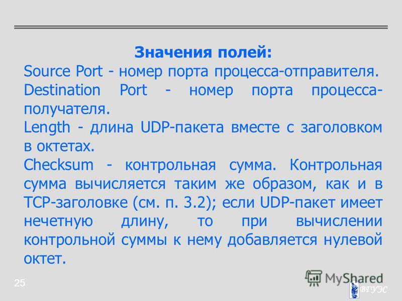 25 Значения полей: Source Port - номер порта процесса-отправителя. Destination Port - номер порта процесса- получателя. Length - длина UDP-пакета вместе с заголовком в октетах. Checksum - контрольная сумма. Контрольная сумма вычисляется таким же обра