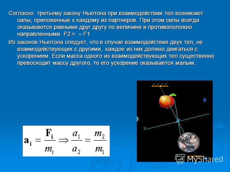 Согласно третьему закону Ньютона при взаимодействии тел возникают силы, приложенные к каждому из партнеров. При этом силы всегда оказываются равными друг другу по величине и противоположно направленными. F2 = – F1 Из законов Ньютона следует, что в сл