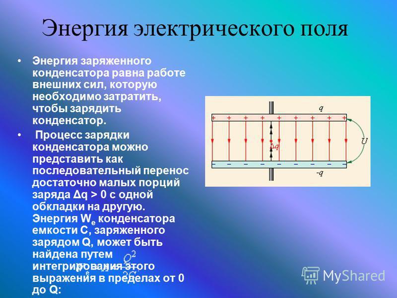 Энергия электрического поля Энергия заряженного конденсатора равна работе внешних сил, которую необходимо затратить, чтобы зарядить конденсатор. Процесс зарядки конденсатора можно представить как последовательный перенос достаточно малых порций заряд