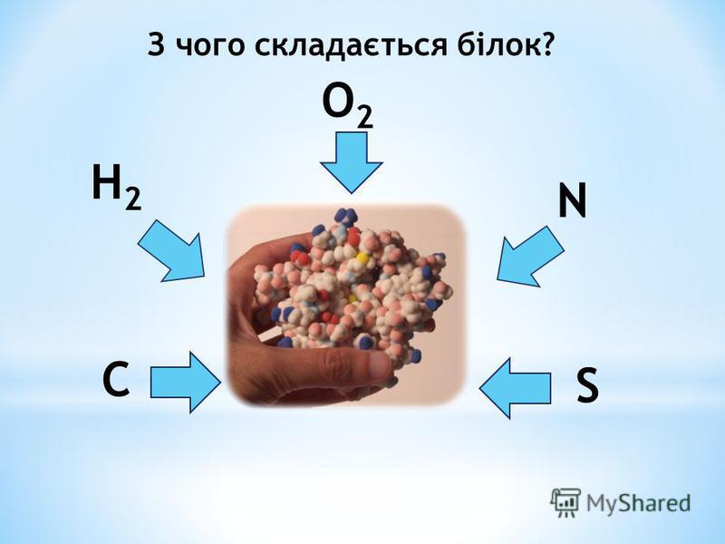 З чого складається білок? C H2H2 O2O2 S N