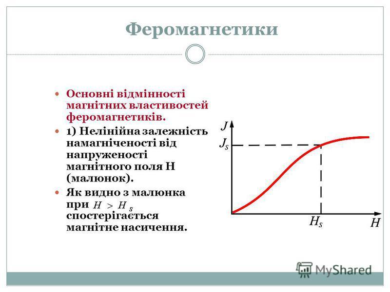 Феромагнетики Основні відмінності магнітних властивостей феромагнетиків. 1) Нелінійна залежність намагніченості від напруженості магнітного поля Н (малюнок). Як видно з малюнка при спостерігається магнітне насичення.