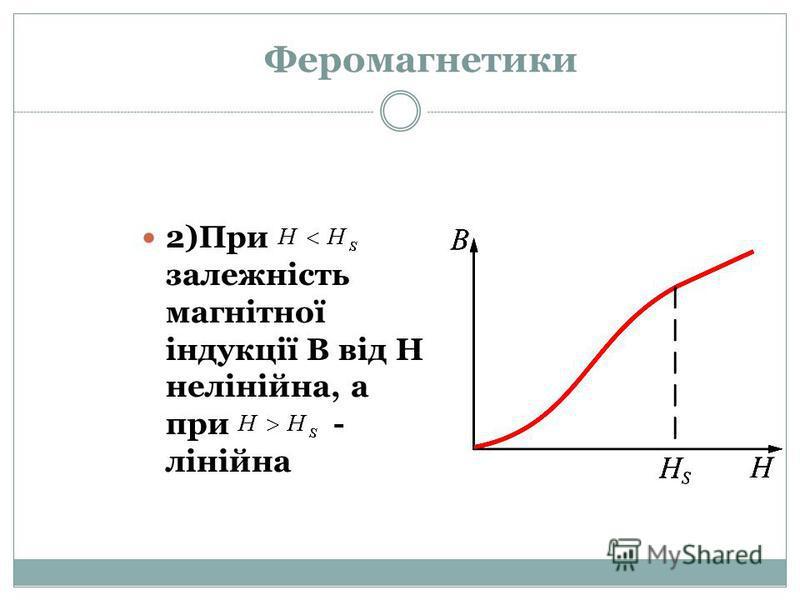 Феромагнетики 2)При залежність магнітної індукції В від Н нелінійна, а при - лінійна