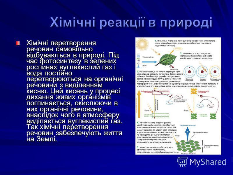 Хімічні перетворення речовин самовільно відбуваються в природі. Під час фотосинтезу в зелених рослинах вуглекислий газ і вода постійно перетворюються на органічні речовини з виділенням кисню. Цей кисень у процесі дихання живих організмів поглинається