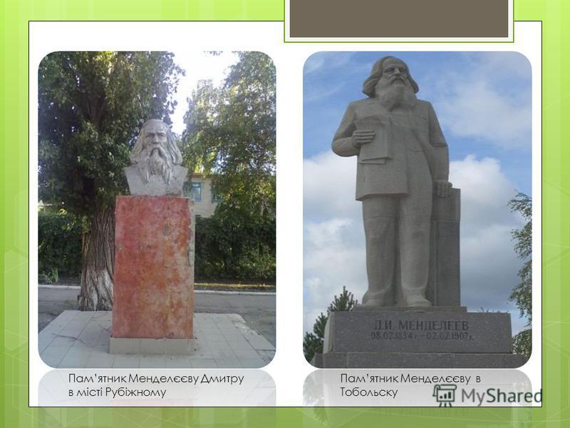 Памятник Менделєєву Дмитру в місті Рубіжному Памятник Менделєєву в Тобольску
