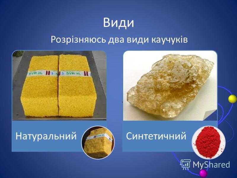 Види НатуральнийСинтетичний Розрізняюсь два види каучуків