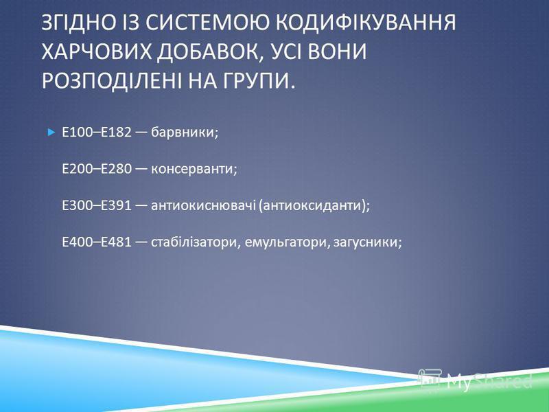 ЗГІДНО ІЗ СИСТЕМОЮ КОДИФІКУВАННЯ ХАРЧОВИХ ДОБАВОК, УСІ ВОНИ РОЗПОДІЛЕНІ НА ГРУПИ. Е 100– Е 182 барвники ; Е 200– Е 280 консерванти ; Е 300– Е 391 антиокиснювачі ( антиоксиданти ); Е 400– Е 481 стабілізатори, емульгатори, загусники ;
