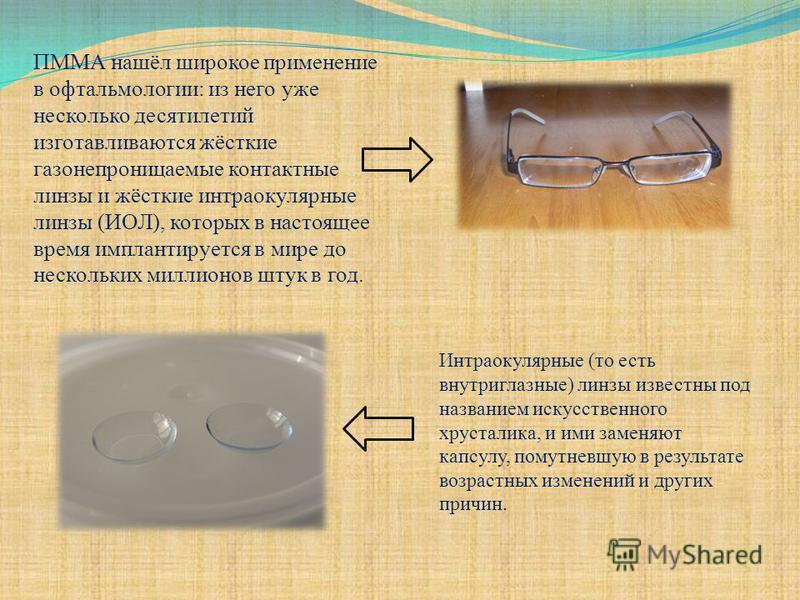 ПММА нашёл широкое применение в офтальмологии: из него уже несколько десятилетий изготавливаются жёсткие газонепроницаемые контактные линзы и жёсткие интраокулярные линзы (ИОЛ), которых в настоящее время имплантируется в мире до нескольких миллионов