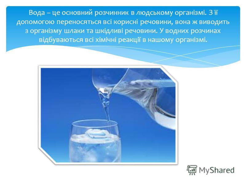 Вода – це основний розчинник в людському організмі. З її допомогою переносяться всі корисні речовини, вона ж виводить з організму шлаки та шкідливі речовини. У водних розчинах відбуваються всі хімічні реакції в нашому організмі.