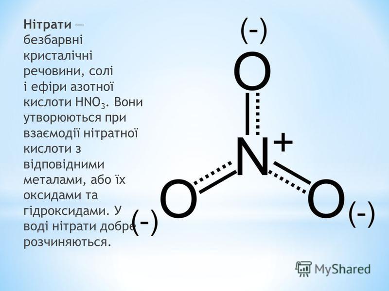 Нітрати безбарвні кристалічні речовини, солі і ефіри азотної кислоти HNO 3. Вони утворюються при взаємодії нітратної кислоти з відповідними металами, або їх оксидами та гідроксидами. У воді нітрати добре розчиняються.