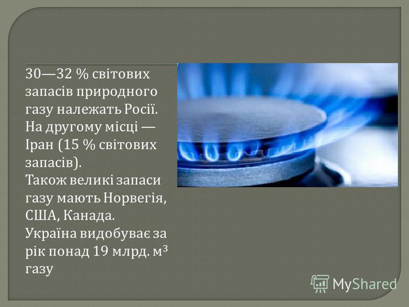 3032 % світових запасів природного газу належать Росії. На другому місці Іран (15 % світових запасів ). Також великі запаси газу мають Норвегія, США, Канада. Україна видобуває за рік понад 19 млрд. м 3 газу