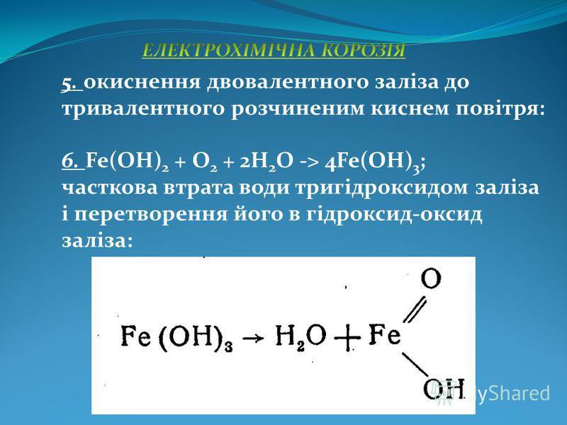 5. окиснення двовалентного заліза до тривалентного розчиненим киснем повітря: 6. Fe(OH) 2 + O 2 + 2H 2 O -> 4Fe(OH) 3 ; часткова втрата води тригідроксидом заліза і перетворення його в гідроксид-оксид заліза: