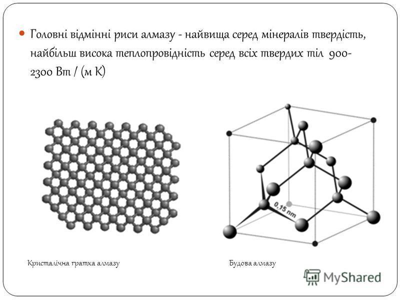 Головні відмінні риси алмазу - найвища серед мінералів твердість, найбільш висока теплопровідність серед всіх твердих тіл 900- 2300 Вт / (м К) Будова алмазуКристалічна гратка алмазу