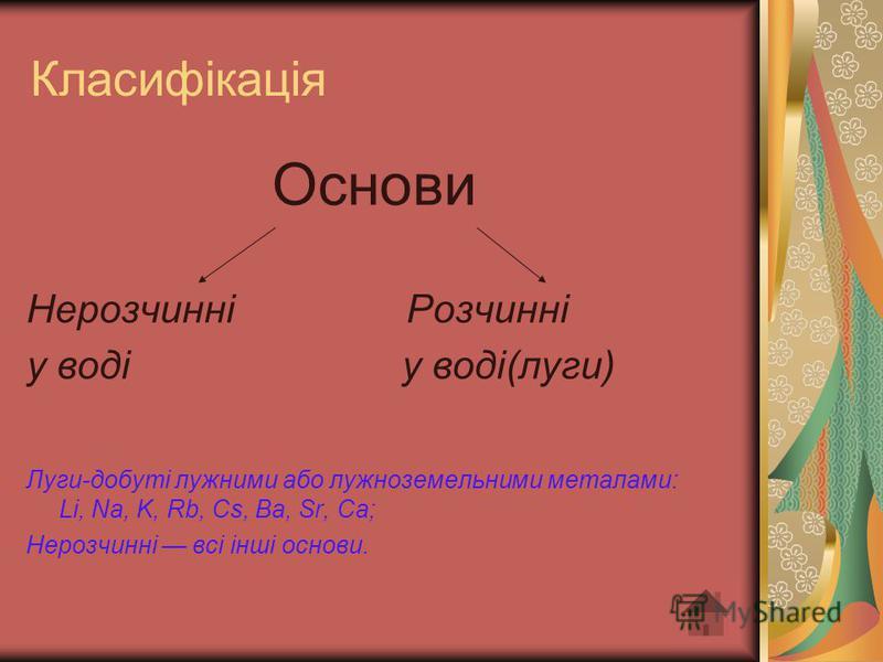Класифікація Основи Нерозчинні Розчинні у воді у воді(луги) Луги-добуті лужними або лужноземельними металами: Li, Nа, K, Rb, Сs, Ba, Sr, Ca; Нерозчинні всі інші основи.