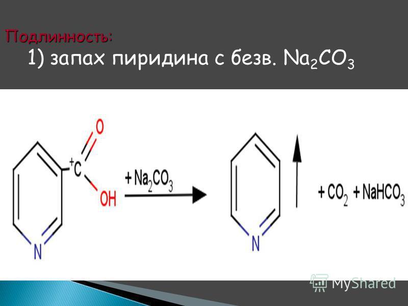 Подлинность: 1) запах пиридина с безв. Na 2 CO 3