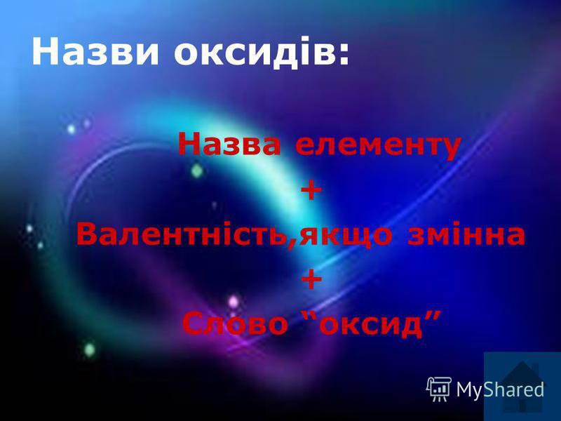 Назви оксидів: Назва елементу + Валентність,якщо змінна + Слово оксид