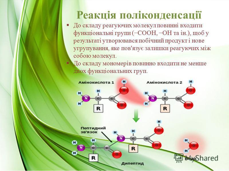 Реакція поліконденсації До складу реагуючих молекул повинні входити функціональні групи (СООН, ОН та ін.), щоб у результаті утворювався побічний продукт і нове угрупування, яке пов'язує залишки реагуючих між собою молекул. До складу мономерів повинно