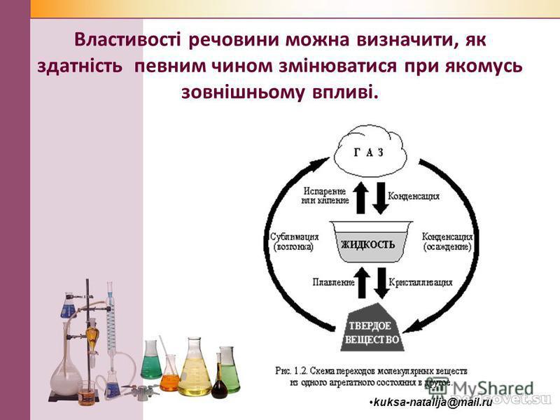 Властивості речовини можна визначити, як здатність певним чином змінюватися при якомусь зовнішньому впливі. kuksa-natalija@mail.ru