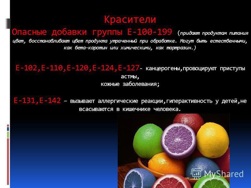 Красители Опасные добавки группы Е-100-199 ( придают продуктам питания цвет, восстанавливают цвет продукта утраченный при обработке. Могут быть естественными, как бета-каротин или химическими, как тартразин.) Е-102,Е-110,Е-120,Е-124,Е-127 - канцероге