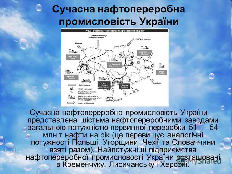 Сучасна нафтопереробна промисловість України Сучасна нафтопереробна промисловість України представлена шістьма нафтопереробними заводами загальною потужністю первинної переробки 51 54 млн т нафти на рік (це перевищує аналогічні потужності Польщі, Уго