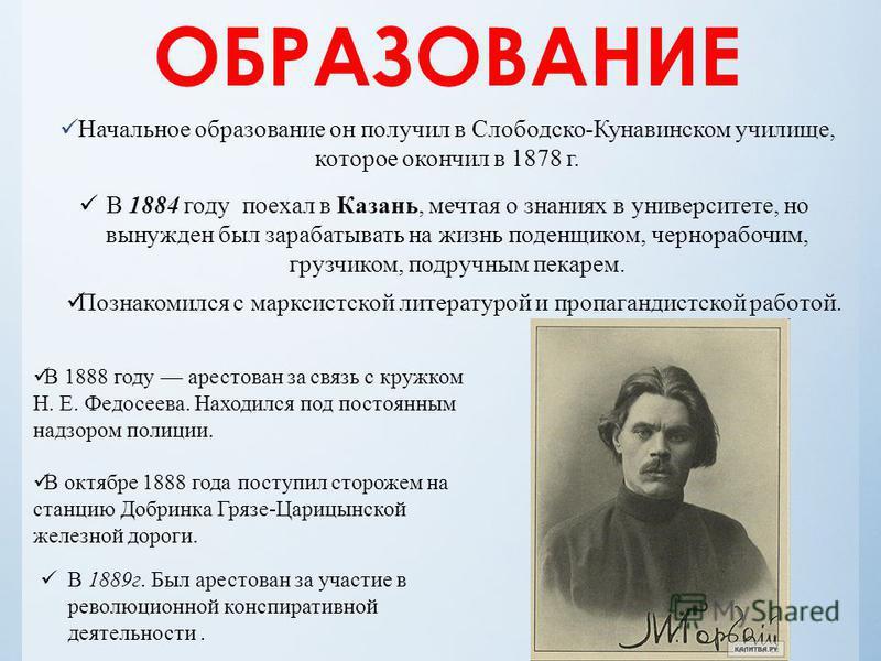 ОБРАЗОВАНИЕ Начальное образование он получил в Слободско-Кунавинском училище, которое окончил в 1878 г. В 1884 году поехал в Казань, мечтая о знаниях в университете, но вынужден был зарабатывать на жизнь поденщиком, чернорабочим, грузчиком, подручным