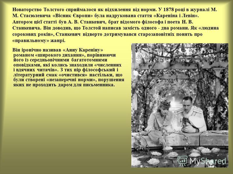 Новаторство Толстого сприймалося як відхилення від норми. У 1878 році в журналі М. М. Стасюлевича «Вісник Європи» була надрукована стаття «Кареніна і Левін». Автором цієї статті був А. В. Станкевич, брат відомого філософа і поета Н. В. Станкевича. Ві
