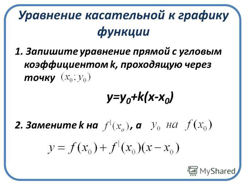 Уравнение касательной к графику функции 1. Запишите уравнение прямой с угловым коэффициентом k, проходящую через точку 2. Замените k на, а у=у 0 +k(x-x 0 )