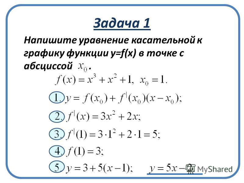 Задача 1 Напишите уравнение касательной к графику функции у=f(x) в точке с абсциссой.