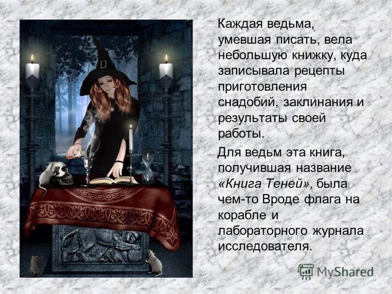 Каждая ведьма, умевшая писать, вела небольшую книжку, куда записывала рецепты приготовления снадобий, заклинания и результаты своей работы. Для ведьм эта книга, получившая название «Книга Теней», была чем-то Вроде флага на корабле и лабораторного жур