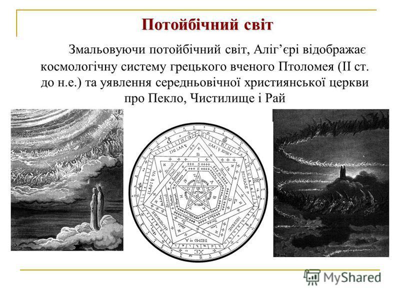 Потойбічний світ Змальовуючи потойбічний світ, Алігєрі відображає космологічну систему грецького вченого Птоломея (ІІ ст. до н.е.) та уявлення середньовічної християнської церкви про Пекло, Чистилище і Рай