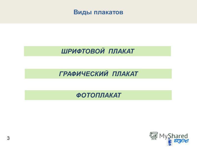 3 Виды плакатов ШРИФТОВОЙ ПЛАКАТ ГРАФИЧЕСКИЙ ПЛАКАТ ФОТОПЛАКАТ