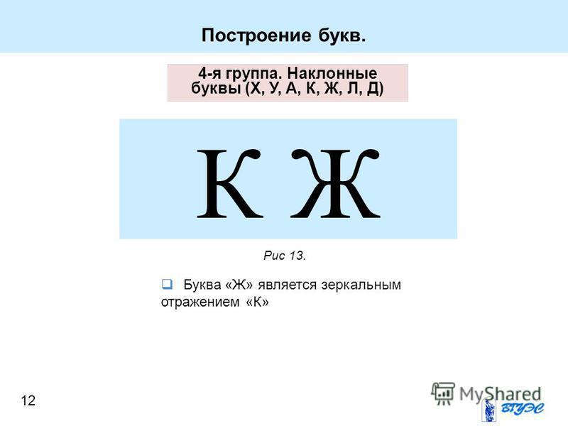 Построение букв. 4-я группа. Наклонные буквы (Х, У, А, К, Ж, Л, Д) К Ж Буква «Ж» является зеркальным отражением «К» Рис 13. 12