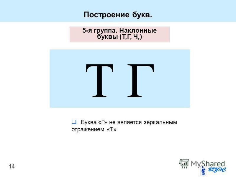 Построение букв. 5-я группа. Наклонные буквы (Т,Г, Ч,) Т Г Буква «Г» не является зеркальным отражением «Т» 14