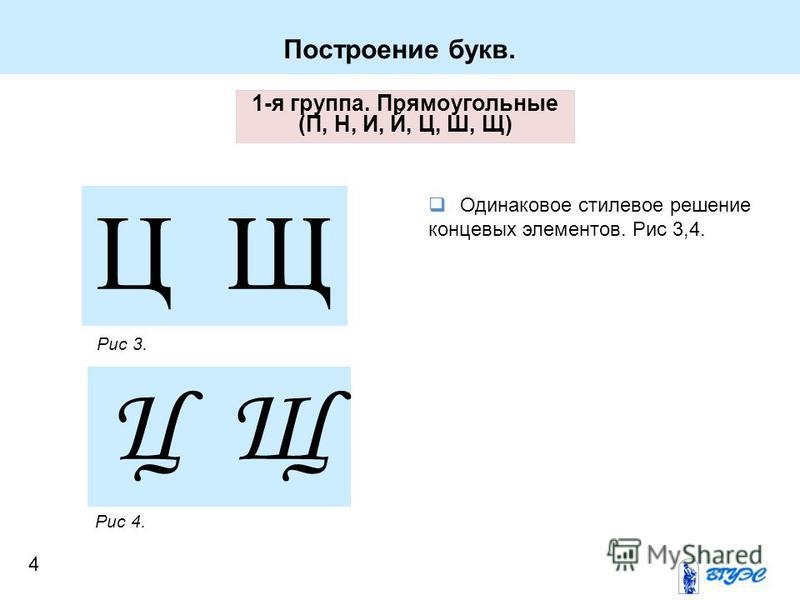 1-я группа. Прямоугольные (П, Н, И, Й, Ц, Ш, Щ) Ц Щ Рис 3. Рис 4. Одинаковое стилевое решение концевых элементов. Рис 3,4. Построение букв. 4