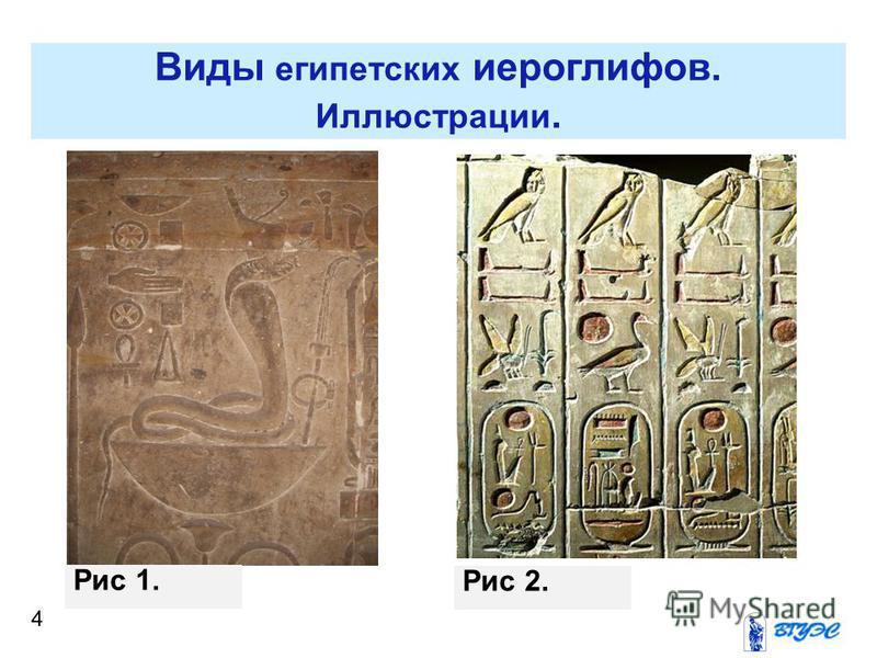4 Виды египетских иероглифов. Иллюстрации. Рис 1. Рис 2.