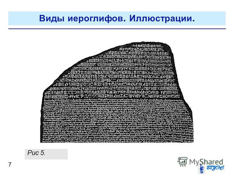 7 Рис 5. Виды иероглифов. Иллюстрации.